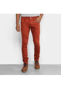 Calça De Sarja Skinny Rock & Soda Color Ferrugem Masculina - Masculino