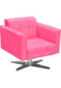 Poltrona Decorativa Elisa Suede Rosa Barbie Com Base Giratória Em Aço Cromado - D'Rossi