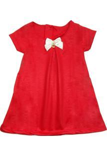 Vestido Moletom Verão Menina Enxoval Roupa Bebe Natal Manabana Vermelho