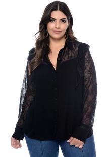 Camisa Plus Size Art Final Patricia Preta
