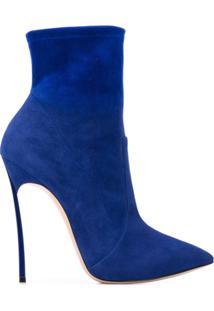 Casadei Ankle Boot Com Salto - Azul