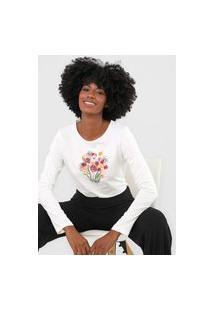 Camiseta Scene Floral Branco/Cinza