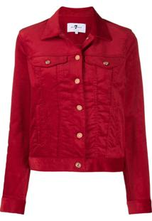 7 For All Mankind Corduroy Button Jacket - Vermelho