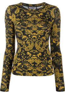 Versace Jeans Couture Suéter Com Estampa Barroca - Preto