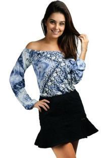 Blusa Cigana Banna Hanna Visco Estampada Cobra - Feminino-Azul