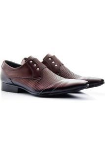Sapato Social Couro Bigioni Elegante Estampado Masculino - Masculino-Marrom