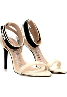 Sandália Couro Carmim Salto Fino Velcro Feminina - Feminino-Off White+Preto