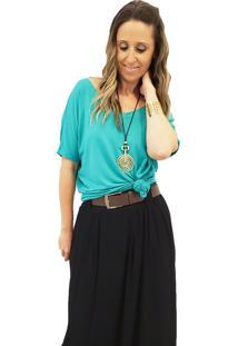 Blusa Em Malha Mania De Sophia Decote V Verde Mint - Verde - Feminino - Viscose - Dafiti