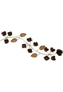 Galho De Flores De Bronze Floresta De Folhas