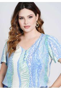 Blusa Estampada Almaria Plus Size New Umbi Ombro L