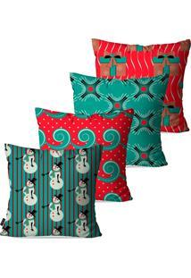 Kit Com 4 Capas Para Almofadas Pump Up Decorativas Natalinas Elementos De Natal Estilo Abstrato 45X45Cm - Vermelho - Dafiti