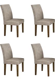 Conjunto Com 4 Cadeiras Olímpia Ipê E Pena Palha