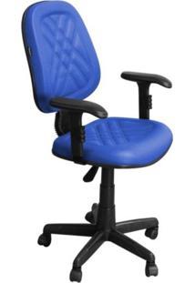 Cadeira De Escritório Pethiflex Ce-02Gpbt Executiva Giratória Com Costura Azul