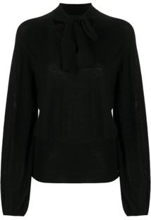Temperley London Tied Neck Blouse - Preto
