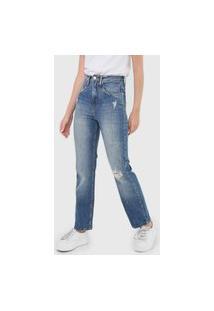 Calça Jeans Calvin Klein Jeans Reta Destroyed Azul