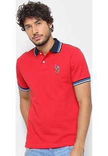 Camisa Polo U.S. Polo Assn Lisa Diferenciada Masculina - Masculino-Vermelho