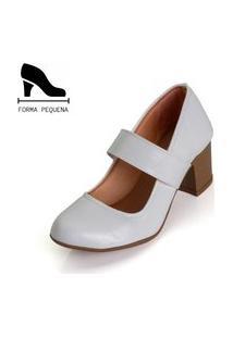Sapato Scarpin Boneca Salto Médio Grosso Branco