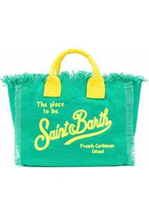 Mc2 Saint Barth Bolsa Tote Com Alça De Mão E Logo - Verde