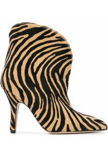 Paris Texas Ankle Boot Salto Agulha Com Estampa De Zebra - Marrom