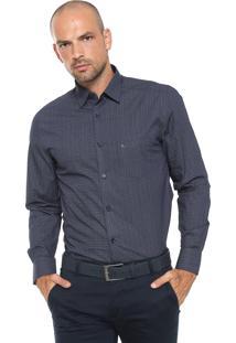 Camisa Aramis Reta Estampada Azul-Marinho