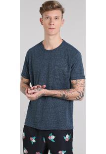 Camiseta Masculina Com Bolso Manga Curta Gola Careca Azul Marinho