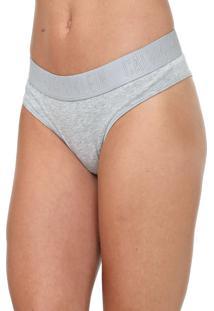 Calcinha Calvin Klein Underwear Tanga Logo Cinza - Cinza - Feminino - Algodã£O - Dafiti