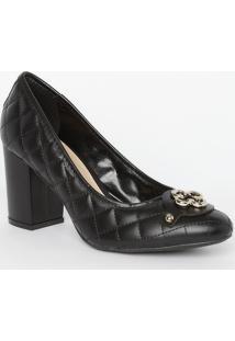 Sapato Tradicional Em Couro Matelassê- Preto- Salto:Capodarte