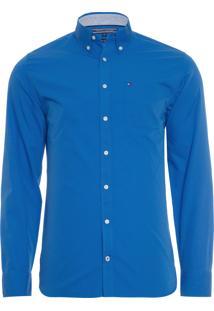 Camisa Masculina 80'S Two Poplin - Azul
