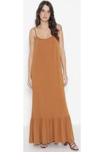 Vestido Longo Com Recortes - Laranja Escuro - Wool Lwool Line