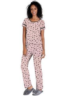 Pijama Longo De Mangas Curtas Rosa Bebê/Chumbo