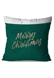 Capa De Almofada Avulsa Decorativa Merry Christmas Verde 45X45Cm