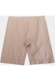 Shorts Modelador Lupo Sem Costura Plus Size - Feminino-Bege