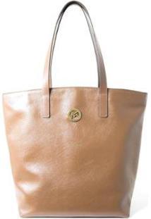 Bolsa Shopper Couro Mariart 5220 Feminina - Feminino-Caramelo