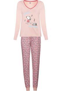 Conjunto De Pijama Estampado Com Blusa De Mangas Longas E Calça - Peanuts