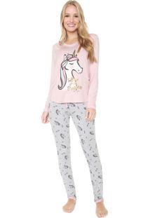 Pijama Any Any Unidreams Rosa/Cinza