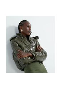 Jaqueta Cropped Em Poliamida Com Gomose Capuz | Blue Steel | Verde | M