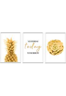 Quadro 60X120Cm Abacaxi Dourado Com Frase- Decorativo Moldura Branca Com Vidro