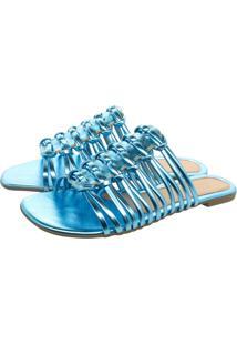 Sandalia Rasteirinha Bico Quadrado Chinelo Tira Brilho Olzzy Rasteira Metalizado Azul Celeste