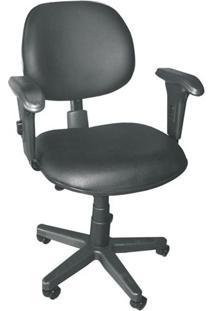 Cadeira Executiva Ergonômica Giratória Com Multi Regulagem Em Couro Ecológico Preto Ce250 Pethiflex