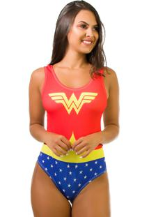 Body Kaisan Sublimado Cavado Nas Costas Wonder Woman Vermelho