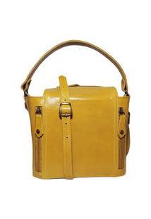 Bolsa Pequena De Couro Quadradinha - Ref.198 Mostarda