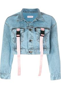 Palm Angels Jaqueta Jeans Cropped - Azul