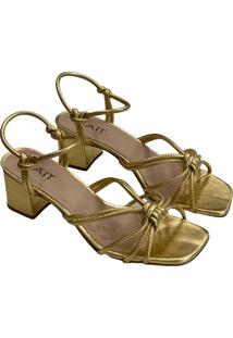 Sandália Salto Bloco Gait Tiras E Nó Dourada