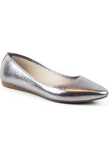 Saptailha Tag Shoes Metalizada Feminina - Feminino-Prata