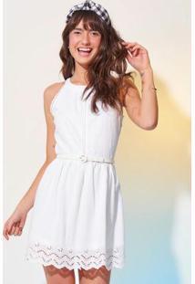 Vestido Branco Evasê Em Laise