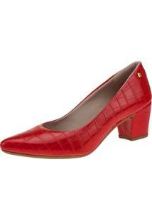 Scarpin Domidona Salto Grosso Croco 120.19.012 - Vermelho