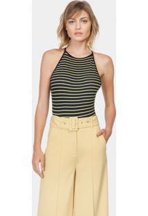 ab49fe8e7 ... Calça Pantalona Cintura Alta Cinto Amarelo Gamuza - Lez A Lez