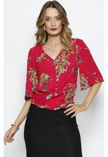 Blusa Texturizada Floral Com Amarraã§Ã£O - Pink & Verde