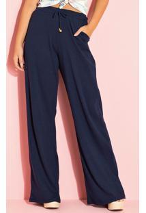 Calça Pantalona Canelada Marinho