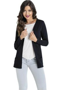 Cardigan Moda Pop Aberto Com Bolsos Preto - Preto - Feminino - Algodã£O - Dafiti